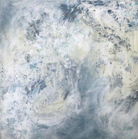 "Carmela Martin, ""Faces of the Crowd"", Acrylic mixed 36x36"
