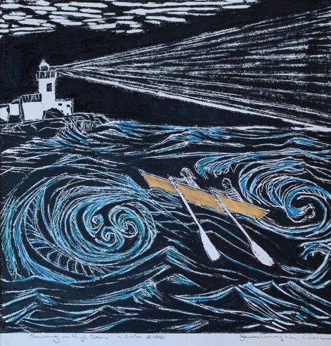 """Janice Charles, ""Rowing in High Seas"", 12x12 in. wood block print on mulberry paper"