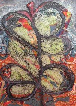 "Lynda Goldberg, ""Spring Hope"", Monoprint, Mixed Media on canvas 24x18"