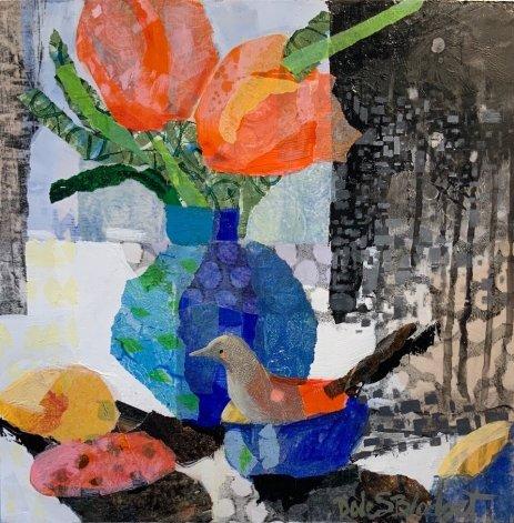 "Dale Sherman Blodget, ""Bird Rocks Tulips"", Acrylic w: collage, 12 x 12 in."