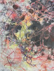 "Lynda Goldberg, ""Black Hole"", Monotype on Canvas, 18 x 14 in"