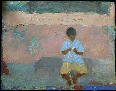 """Nella Lush, """"Happiness"""", Khushee Oil & cold wax, 14 x 16 in"""