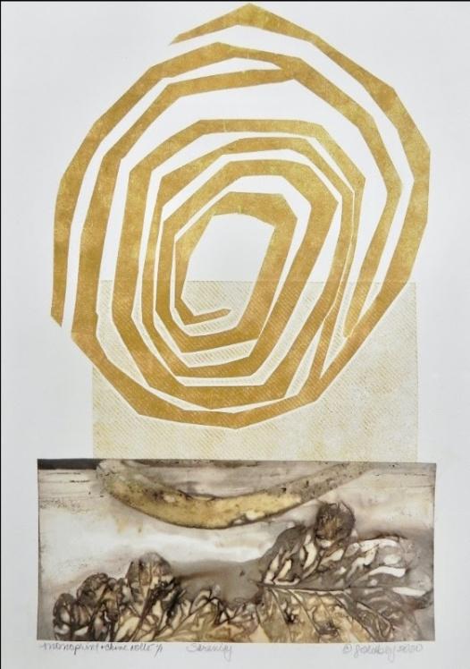 "SERENITY, Monoprint & Chine Colle, 15""x11"" image © Lynda Goldberg 2021"